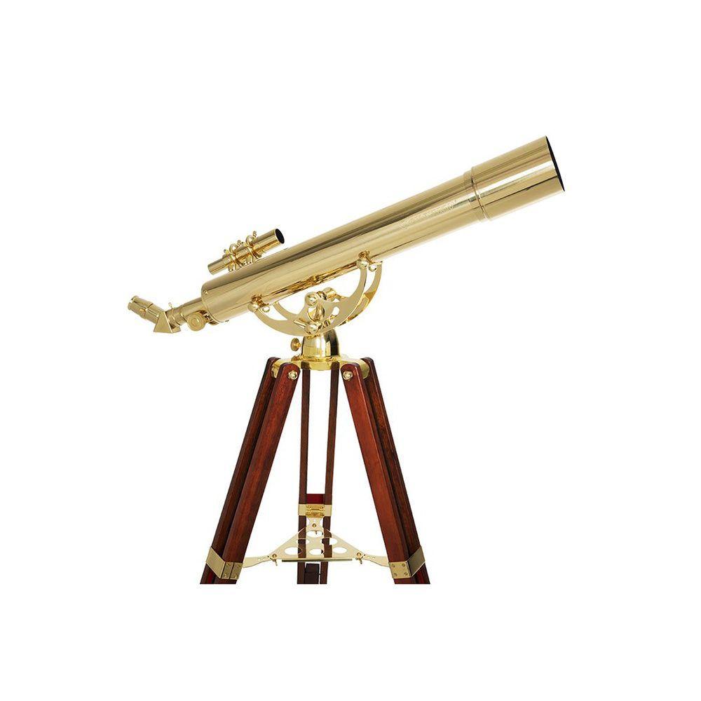 Dettaglio telescopio Celestron Ambassador 80AZ (stile e arredamento) in ottone e legno(vintage)