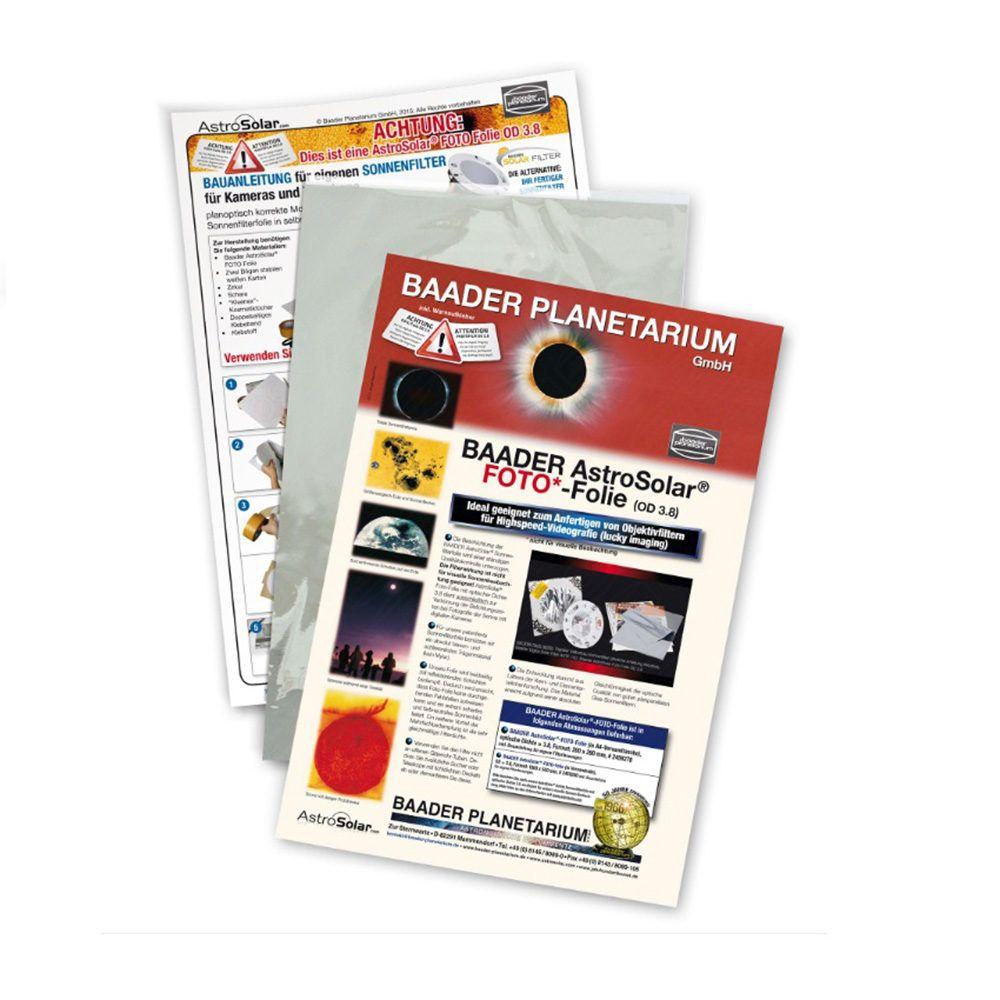 Caratteristiche tecniche e prezzi filtro solare Astrosolar Baader Planetarium in foglio 20X29 densità 3.8