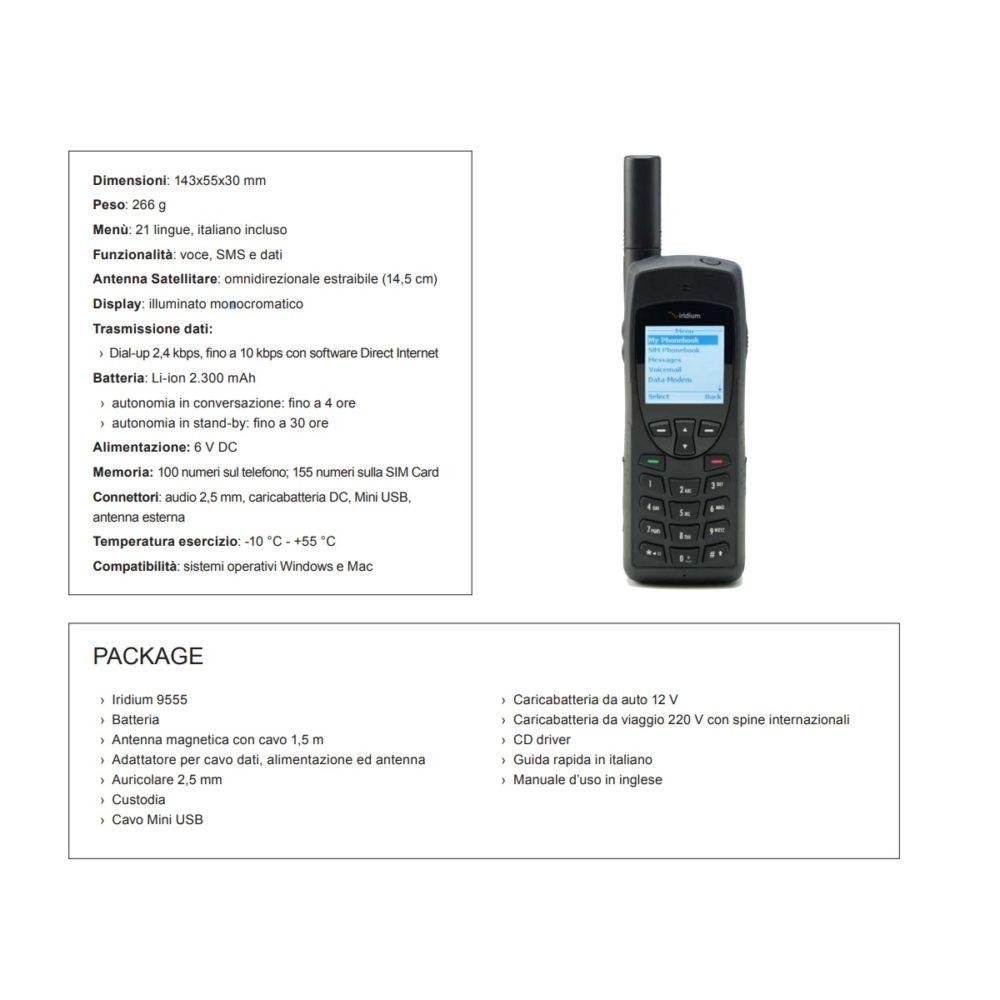Scheda tecnica telefono satellitare globale Iridium 9555