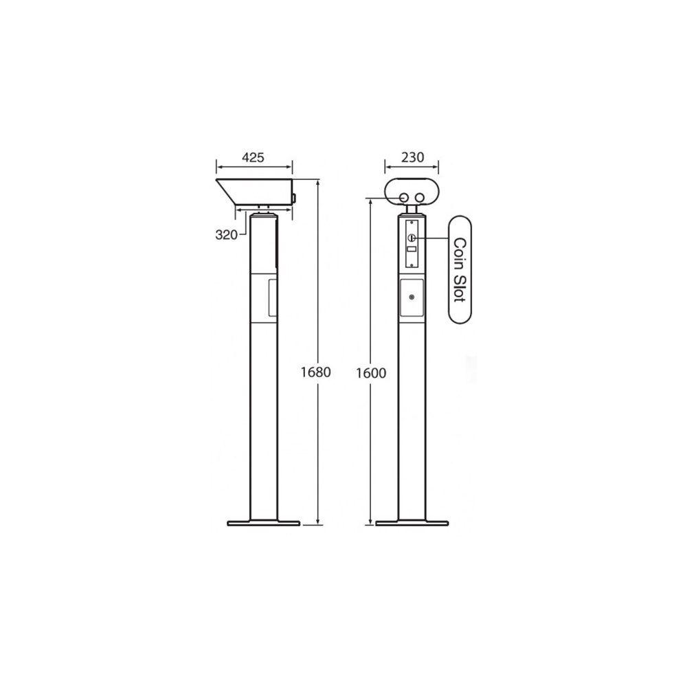 Disegno tecnico misure binocolo panoramico Kowa Landscope 20X80 BL-8H con e senza congegno a moneta