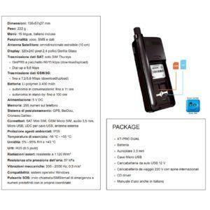 Scheda tecnica telefono satellitare Thuraya XT PRO DUAL