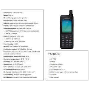 Scheda tecnica telefono satellitare Thuraya XT PRO