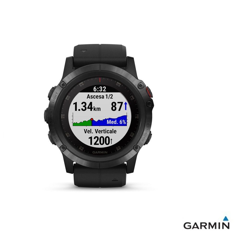 Caratteristiche tecniche e prezzi orologio GPS Garmin fenix 5X Plus Black con grafico altimetrico