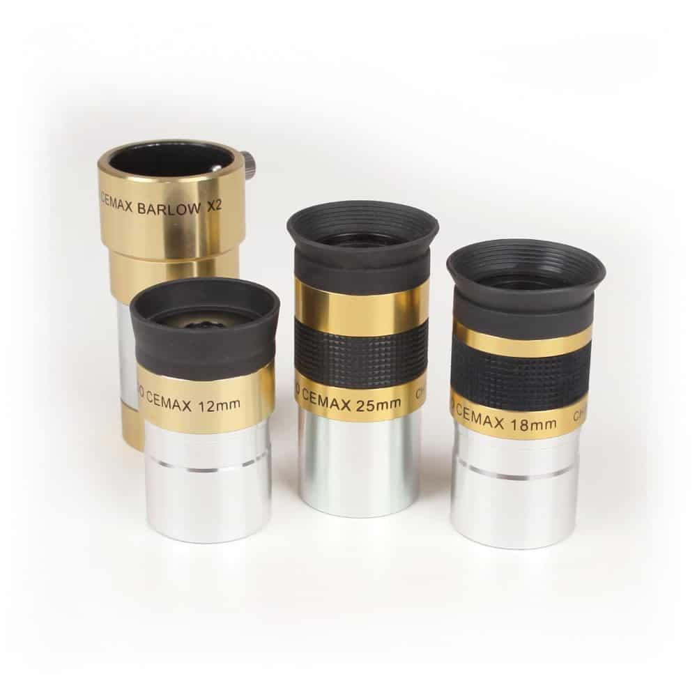 Caratteristiche tecniche e prezzi set oculari e barlow Coronado serie Cemax ottimizzati per la visione con telescopi solari H-Alpha